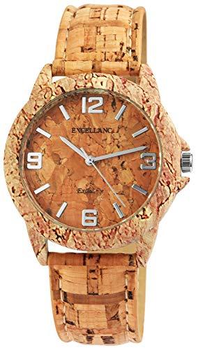 Excellanc Damenuhr Braun Kork Analog Metall Leder Quarz Armbanduhr