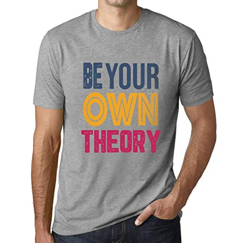 Herren Tee Männer Vintage T shirt Be Your Own THEORY Grau Meliert