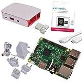 Raspberry Pi 3d'origine officiel Starter Kit Blanc White avec bloc d'alimentation chargeur original, case original, câble HDMI, dissipateurs officielle et microSD 16Go avec NOOBS