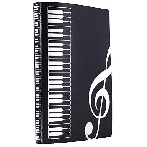 ULTNICE Musik Datei Ordner Organizer Papier Dokumente 40 Taschen Blatthalter (schwarz)