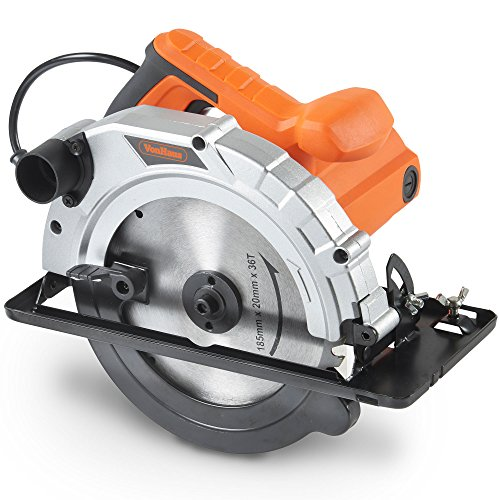 VonHaus 1200W 185mm Multi-Purpose Circular Saw 240V Bevel Angle Joint Cuts - TCT Blade 65mm Cutting Depth - Dust Extraction - Depth and Angle Adjustment