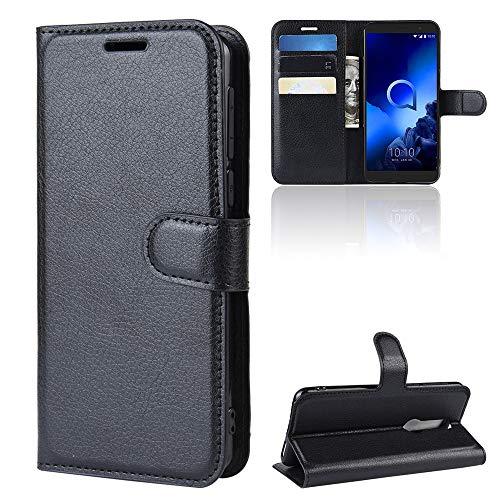 ROVLAK Hülle für Alcatel 1X 2019 Wallet Flip Case mit Kartenslot Stoßfeste Lichee Muster PU Leder Case+Innenseite TPU Silikon Hülle mit Kickstand Tasche für Alcatel 1X 2019 Smartphone Case,Schwarz