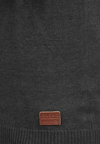 BLEND Robin Herren Feinstrickpullover Longsleeve Troyer mit Reißverschluss Charcoal (70818)