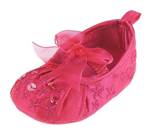 Bébé fille à paillettes Pretty en satin brodé occasion formelle Chaussures Sandales Fuchsia