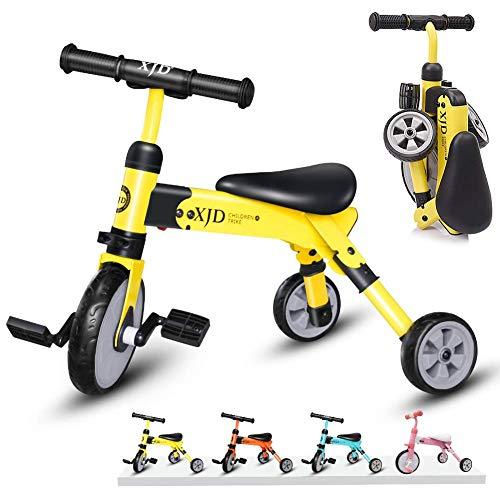 XJD 2 IN 1 Multi Dreirad Laufrad für 24-48 Monate Kinderdreirad Erstes Fahrrad mit Tragetasche CE-Zertifizierung für 2-4 Jahre Alt Kinder Mädchen Junge (Gelb)
