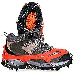 Amasawa Crampon Chaussure Neige(1 Paire),Crampon Antidérapent avec 8 Crochets pour Chaussures pour chaîne Acier au manganèse Neige Escalade de randonnée ou Activités sur Terrain Neigeux (Orange)