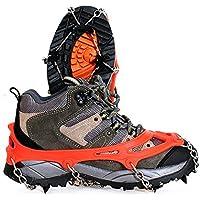 Amasawa Steigeisen (1 Paar),Anti Rutsch Schuhe,Hiker Schuhkrallen mit 8 Manganstahl Zähnen für High Altitude Wandern Eis Schnee,Outdoor,Ski,Eis, Schneeschuhwandern(Orange).