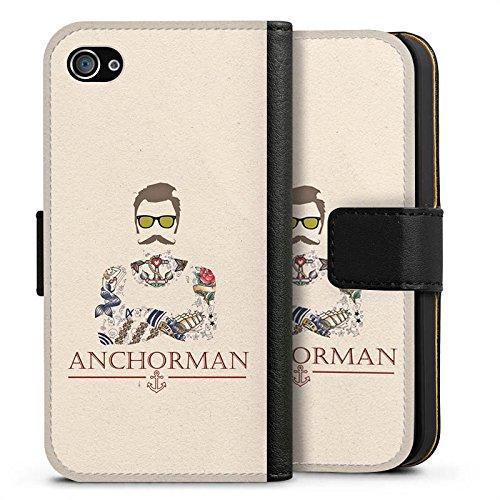 Apple iPhone 6 Plus Silikon Hülle Case Schutzhülle Schnurrbart Anchorman Tattoo Anker Sideflip Tasche schwarz