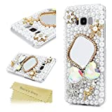 S8 Plus Case, Mavis's Diary Luxury 3D Handmade Bling Sparkle Pearl Full Crystal