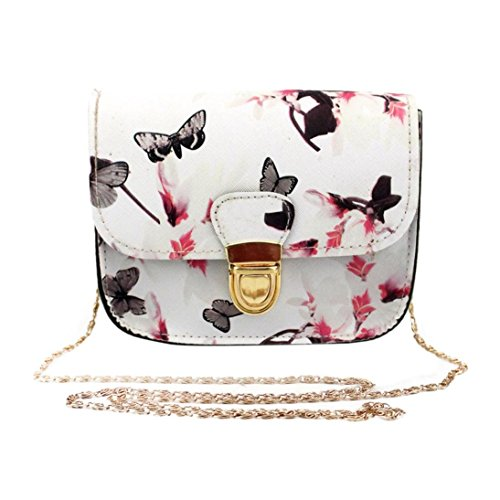 QinMM Frauen Schmetterling Blumendruck Handtasche Schultertasche Tote Messenger Bag Zipper Schultertasche Stilvolle Kleine Körper Geldbörse PU Taschen (Weiß)