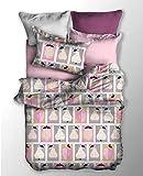DecoKing 04012 Bettwäsche 135x200 cm Kinderbettwäsche mit 1 Kissenbezug 80x80 Bettwäscheset Bettbezüge Microfaser Bettwäschegarnituren Reißverschluss Basic Collection Fruit grau Stahl anthrazit rosa