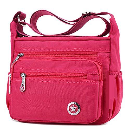 Bolso de hombro para mujer, cruzado, estilo cartero, impermeable, de nailon, color Rosa, talla S