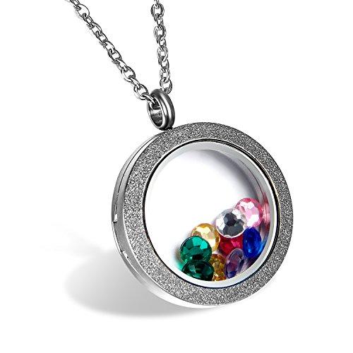 Cupimatch Damen Edelstahl Halskette, Medaillon zum öffnen Floating Charm Anhänger Hochglanz Poliert mit 45cm Kette, Silber