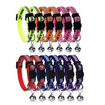 Homimp Lot de 12pièces de collier pour chat avec clochette bande réfléchissante et boucle de sécurité, réglable, 20?30cm