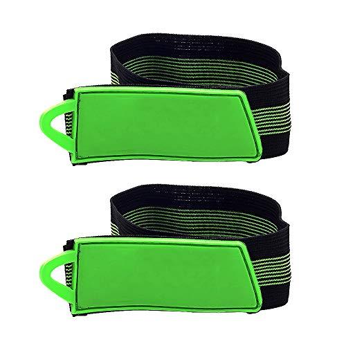 Eastlion 1 Paar Hell Komfortabel Einstellbar Klettband Fahrrad Beingurte Reflektierende Sportbands für Radfahren Laufen Gehen Joggen Einreihige Riemenscheibe -