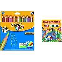 Bic - Pack 24 lápices de colores Tropicolors + 12 ceras de colores, Plastidecor