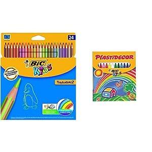 Bic – Pack 24 lápices de colores Tropicolors + 12 ceras de colores, Plastidecor