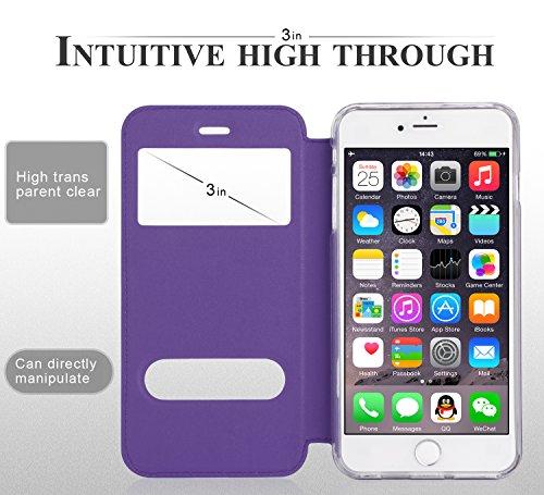 iPhone 6S Plus Hülle,iPhone 6 Plus Hülle,iPhone 6 Plus,Fyy® hochwertige umweltfreundliche KunstlederHülle (Tasche Schale Schutzhülle Case Cover Etui) Hellbraun für Apple iPhone 6S Plus/6 Plus A-Violett
