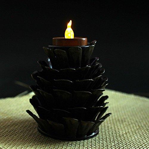 youngerbaby Pino Set di 2a forma di cono partito e decorazioni di Natale in metallo porta candela, centrotavola portacandela con candela senza fiamma LED Ambra Giallo (2batterie CR2032inclusa)