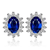 JewelryPalace Principessa Diana William Kate Middleton's 1.5ct Sintetico Blu Zaffiro Stud Orecchini 925 Sterling Argento
