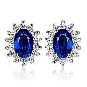 JewelryPalace Principessa Diana William Kate Middleton's 1.5ct Sintetico Blu Zaffiro Stud Orecchini 925 Sterling Argento