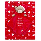 1st Christmas Personalised Embroidered Baby Comforter + Blanket Gift Set Baby