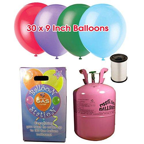Hélium Bouteille jetable 0,25 m3 + 30 ballons couleurs assorties.