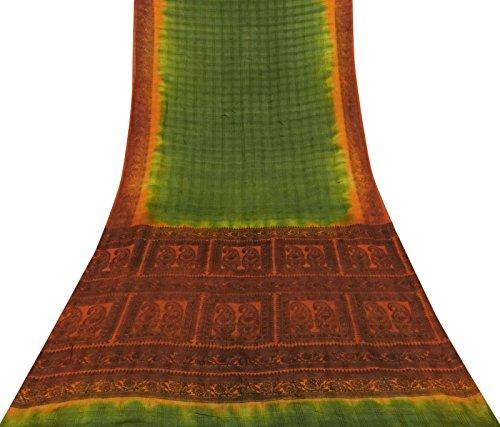 Vintage Green Saree Paisley Printed Reine Seide Sari Dress Making Used Fabric Paisley Printed Silk Dress