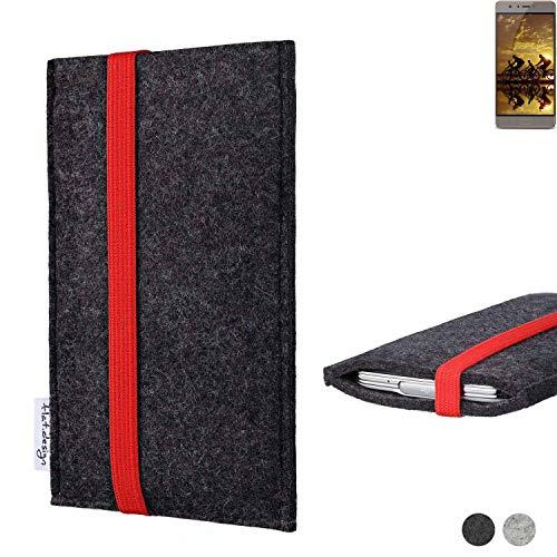 flat.design Handy Tasche Coimbra für Allview P9 Energy S passgenau Filz Schutz Hülle Case anthrazit rot fair