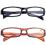 VEVESMUNDO® 2x Lesebrille Herren Damen Augenoptik Lesehilfe mit Sehstärke (Braun und schwarz, 4.0)