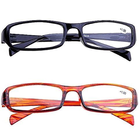 Schoenleben 2x Lesebrille Herren Damen Augenoptik Lesehilfe mit Sehstärke (Braun und schwarz, 4.0)