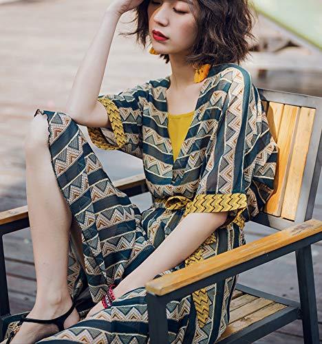 MENSDXA Kleiden Sommer Neue Taille Binden Böhmischen Print Unregelmäßigen Kleid Zweiteiligen Langen Rock, Figur, S - Print Taille Binden