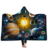 YEARGER Kuscheldecke 150 * 200cm Planet Universe Hooded Blanket Fleece Wearable Decke Sofa Warm Decke Für Erwachsene Kinder