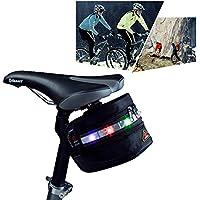 Della bicicletta, sotto al sedile/drunkqueen® posteriore Clip da borsa, espandibile, con luci a LED, per la notte, da ciclismo, colore: multicolore