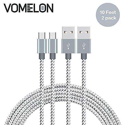 Micro USB Kabel, [10FT-2Pack] Nylon geflochten Verwicklung frei Micro USB Ladekabel für Android, Samsung, HTC, Nokia, Sony, Nexus, LG und weitere Smartphones-[Grau +