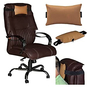 Acm Leather Cushion Pillow Head & Neck Rest for Computer Chair Golden