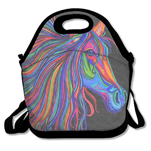 Jacklee Lunch Boxes Rainbow Horse Head Lunchboxen Food Container Lunch Tote Handtasche Designer Lunch Box for Work, Office, School -