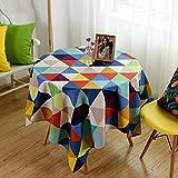 Tovaglia domestica Tovaglia di lino, tovaglie di tovaglia di cotone della tabella della caramella della geometria del triangolo della tavola rotonda ( Colore : Multicolore , dimensioni : 120*120CM )