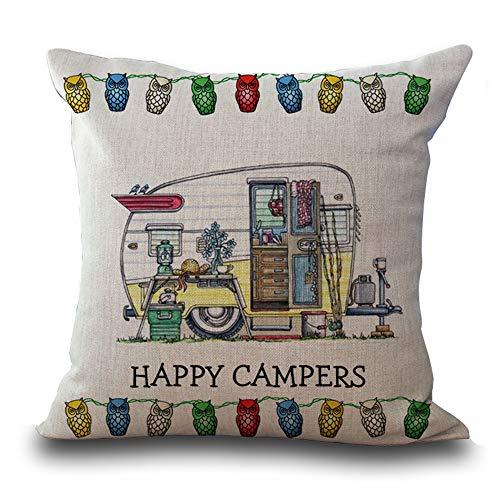 MEHOUSE Housse de Coussin,Ousse de Coussin Embroidery Throw Pillow Case Coussin pour Canapé Voiture de Camping Impression Coton Et Lin Taie d'oreiller 45 * 45CM