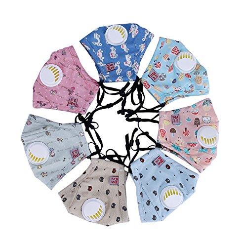 3PCS Schöne Kinder PM2.5 Baumwoll-Mundschutz Anti Verschmutzung Maske mit Filter Atemschutzmaske für Outdoor(Farben in zufälliger)