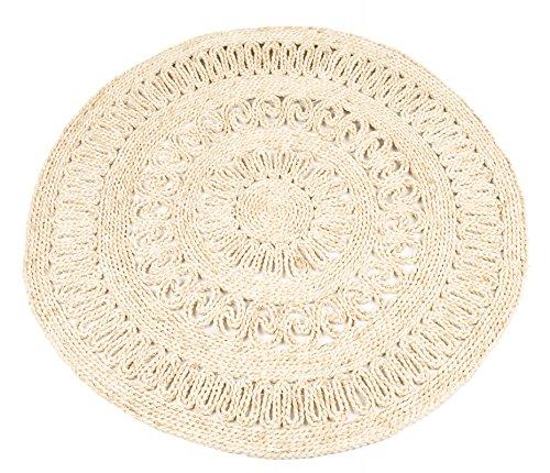 NaDeco Strohteppich mit Muster 60 cm rund | Maisstrohteppich Natur | Stroh Teppich | Maisstroh Teppich | Reisstrohteppich | Naturteppich