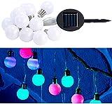 Lunartec LED Lichterkette Outdoor: Solar Lichterkette, 5 m, multicolor, 12 LEDs Glühbirnenform (Solar Lichterkette Balkon)