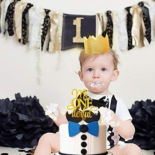 JeVenis Glitzer Mr Onederful Tortenaufsatz 1. Geburtstag Kuchen Topper Little Man Kuchen Topper mit Baby Boy erster Geburtstag Krone für 1. Geburtstag Junge Baby Dusche Geburtstag Party ()