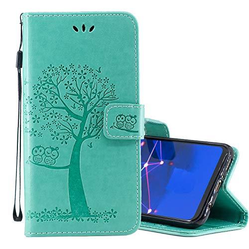 Nadoli Flip Handyhülle für Galaxy S9 Plus,Schutzhülle Pu Leder Lustig Geprägt Baum Eule Magnetverschluss Wallet Brieftasche Lederhülle Etui mit Standfunktion für Samsung Galaxy S9 Plus Flip Plus Audio
