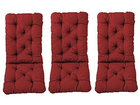 Ambient home Lot de 3 Coussins pour Fauteuil de jardin HANKO MAXI Rouge 120 x 50 x 8 cm 90580