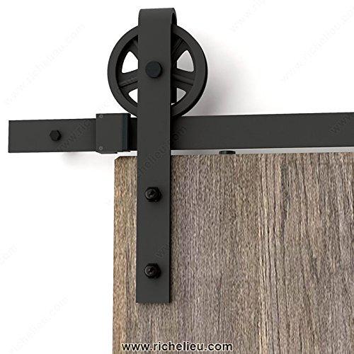 Hahaemall Schiebetürsystem Zubehörteil Schiebetürbeschlag Set Wood Doppelschiebe Barn Door Hardware Basic schwarz groß Spoke Wheel Roller Kit Garage Schrank aus Kohlenstoffstahl Flat Track System
