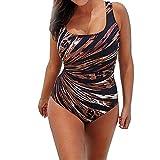 YCQUE Puls Size Elegant Sexy Damen Sommer Gedruckt Leopard Gestreiftes Einteiliges Push Up Gepolsterte Bikini Badeanzug Bademode Bodys Mid Taille