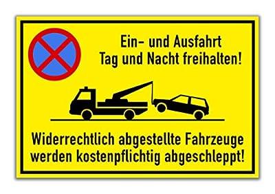 """Schild """"Ein- und Ausfahrt freihalten"""" [30x20cm] Hartschaumplatte"""
