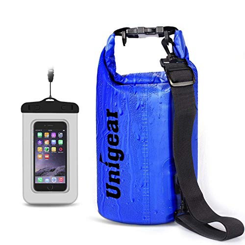 Unigear Dry Bag, wasserdicht Taschen mit Handy Dry Tasche und lang Verstellbarer Schultergurt für Boot und Kajak, Angeln, Rafting, Schwimmen, Camping und Snowboarden