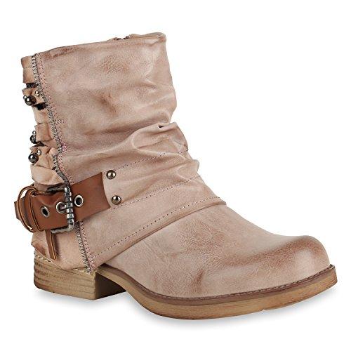 Stiefelparadies Damen Biker Boots Glitzer Stiefeletten Bikerstiefel Nieten Schuhe 155083 Rosa 39 Flandell